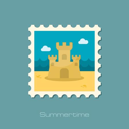 castle sand: Castillo de arena sello plana Vectores