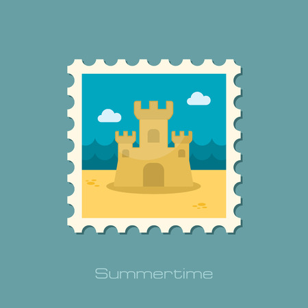children sandcastle: Sand Castle flat stamp