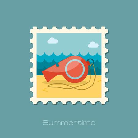 whistle: Whistle flat stamp Illustration