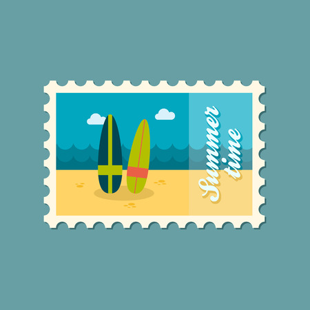 summertime: Surfboard flat stamp summertime Illustration
