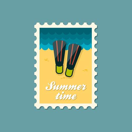 flippers: Aletas verano sello plana Vectores