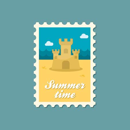 castle sand: Castillo de la arena del verano sello plana