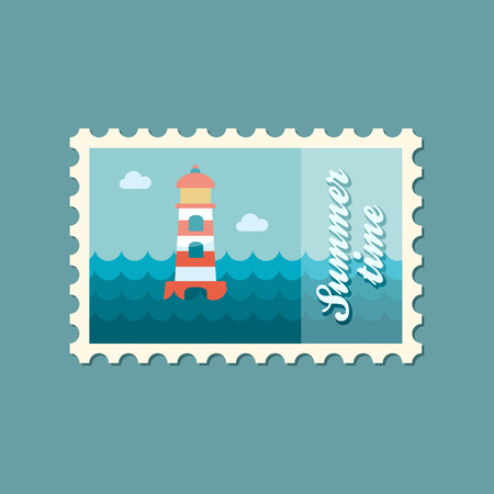 summertime: Lighthouse flat stamp summertime