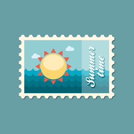 summertime: Sun flat stamp summertime Illustration