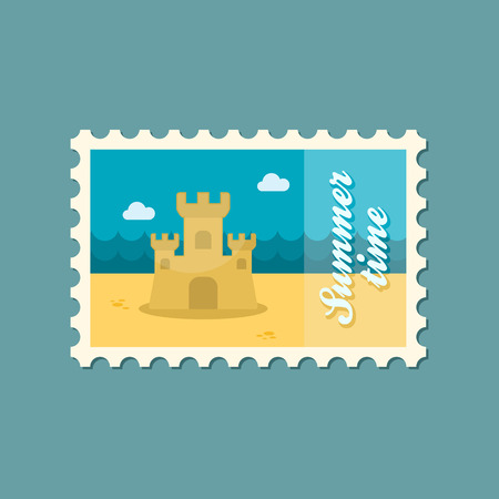 sand castle: Sand Castle flat stamp summertime