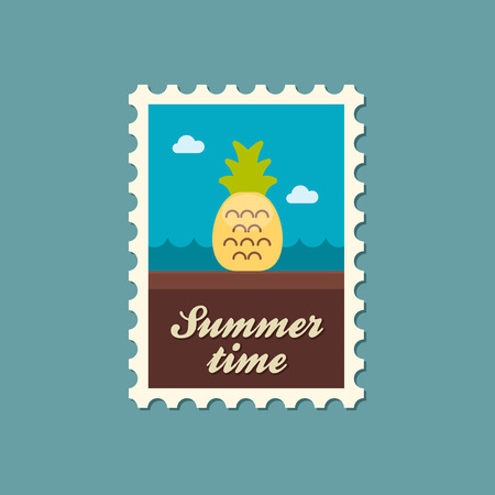 summertime: Pineapple flat stamp summertime Illustration