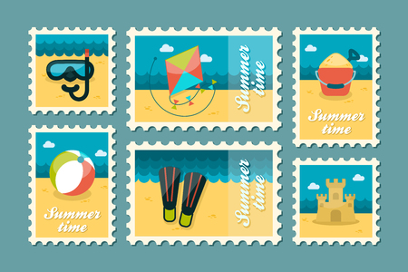 summertime: Summertime stamp set flat Illustration