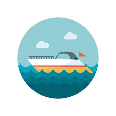 wave tourist: Ship Boat flat icon