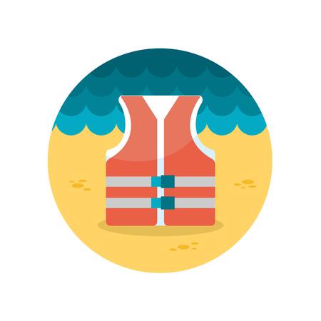 guardia de seguridad: Icono plana Chaleco salvavidas