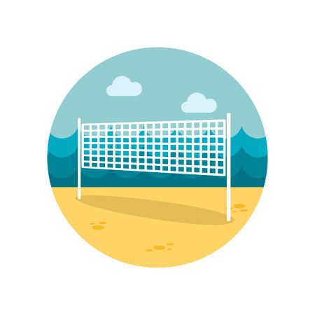 volleyball net: Volleyball net beach sport flat icon Illustration