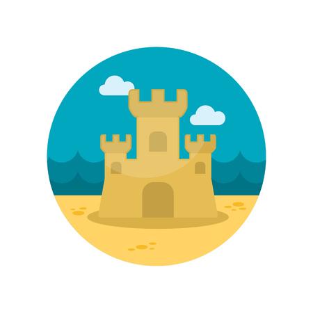castle sand: Castillo de arena icono plana