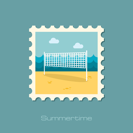 beach game: Volleyball net beach sport flat stamp
