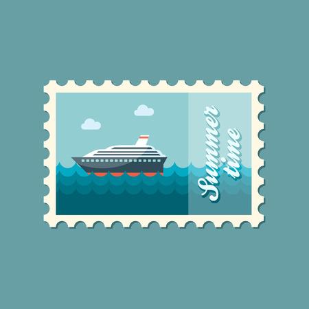 크루즈 대서양 횡단 선박 평평한 도장 일러스트