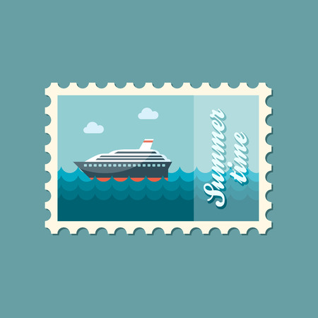 Cruise transatlantic liner ship flat stamp