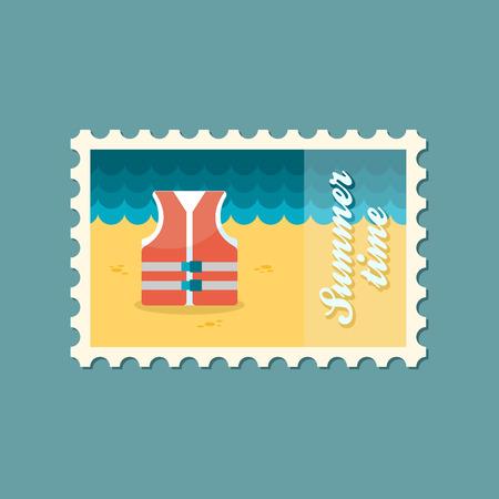 life jacket: Life jacket flat stamp Illustration