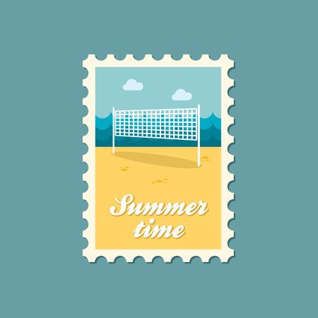volleyball net: Volleyball net beach sport flat stamp