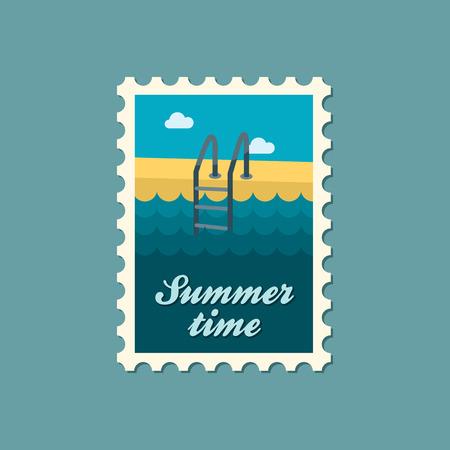 stepladder: Swimming pool flat stamp