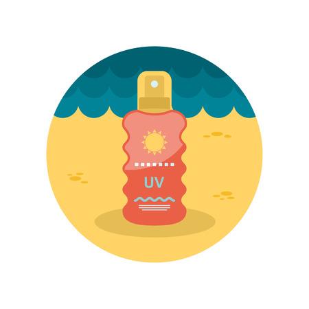 sun cream: Sun Cream in Spray flat icon