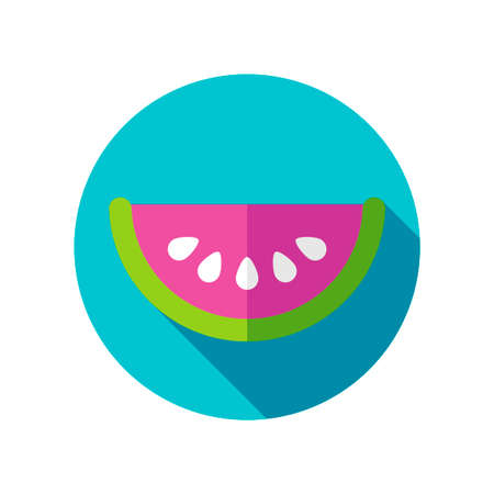 watermelon slice: Watermelon Slice flat icon with long shadow