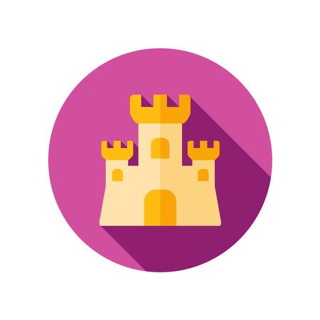 castle sand: Castillo de arena icono plana con larga sombra Vectores