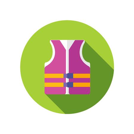 life jacket: Life jacket flat icon with long shadow Illustration