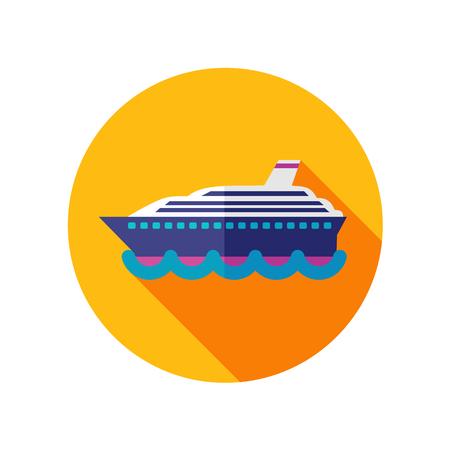 cruiser: Cruise transatlantic liner flat icon with long shadow