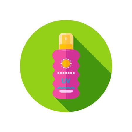 sun lotion: Crema Solar en icono plana del aerosol con una larga sombra Vectores