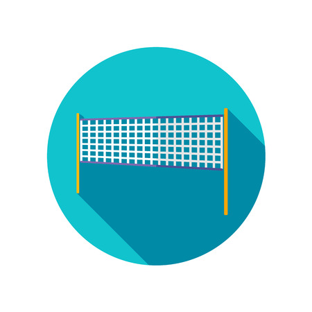 volleyball net: Volleyball net beach sport flat icon with long shadow