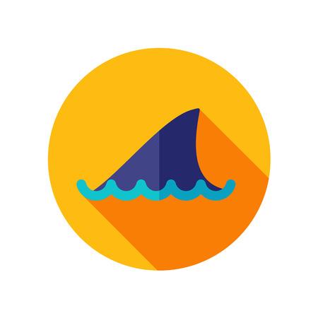 shark fin: Shark fin flat icon with long shadow Illustration