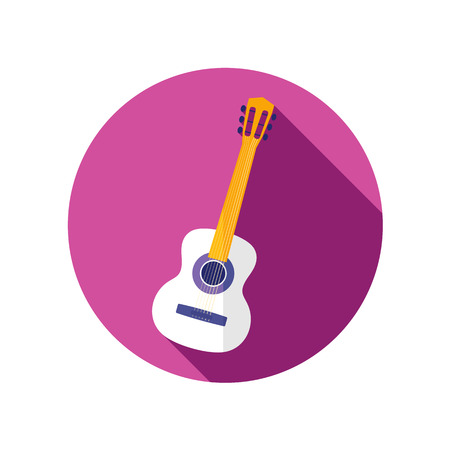 strumming: Guitar Beach flat icon with long shadow Illustration