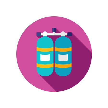 oxygen: Oxygen tank flat icon with long shadow Illustration