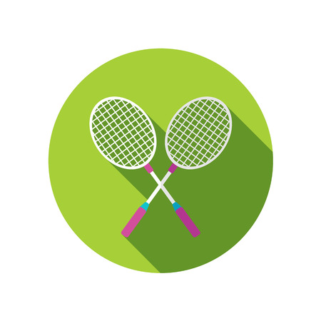 badminton racket: Badminton Racket flat icon with long shadow Illustration