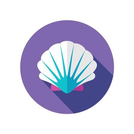 seashell: Seashell flat icon with long shadow