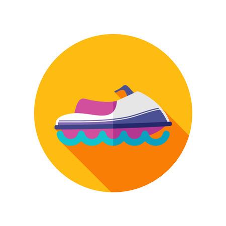 jetski: Jet Ski flat icon with long shadow