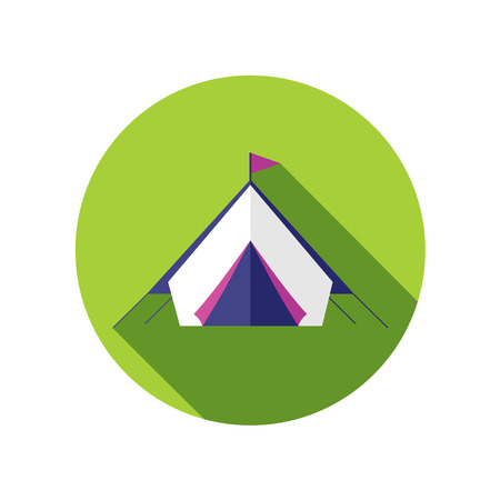 weekend activities: Tent flat icon with long shadow Illustration