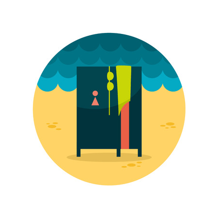 cloakroom: Cloakroom on the beach flat icon