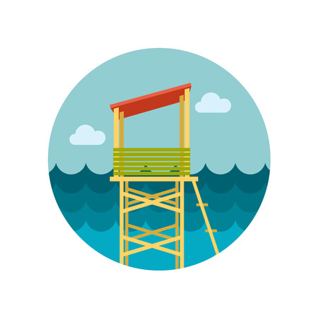 observations: Lifeguard tower flat icon