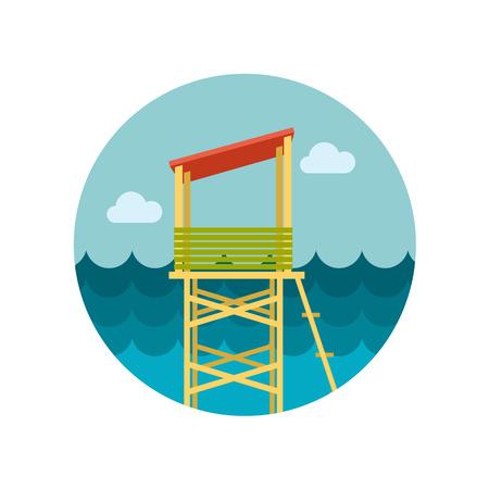 salvation: Lifeguard tower flat icon