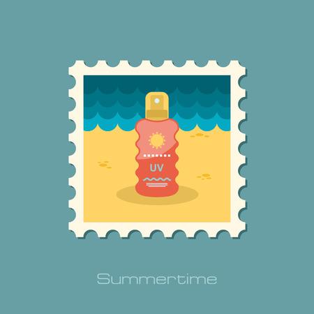 sun cream: Sun Cream in Spray flat stamp Illustration