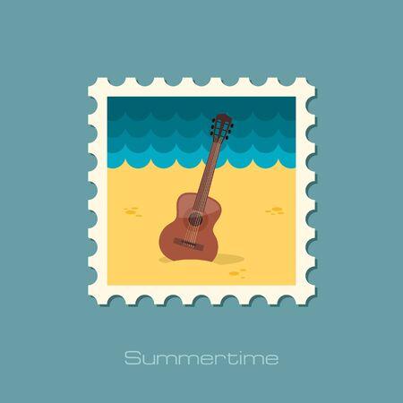 strumming: Guitar Beach flat stamp