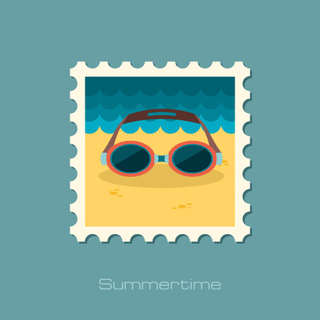 swimming goggles: Swimming Goggles flat stamp