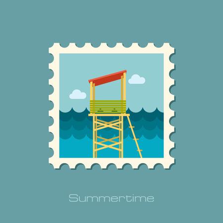 observations: Lifeguard tower flat stamp Illustration