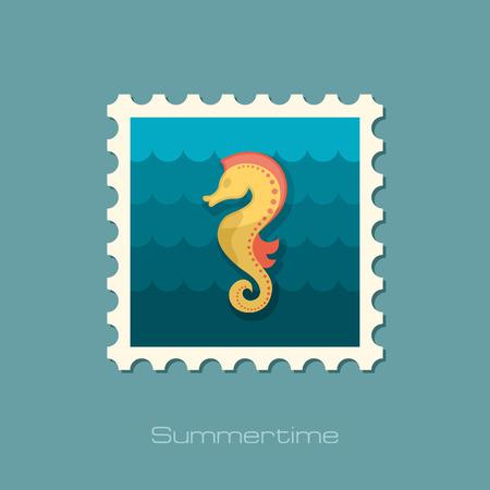 caballo de mar: Sea Horse sello plana