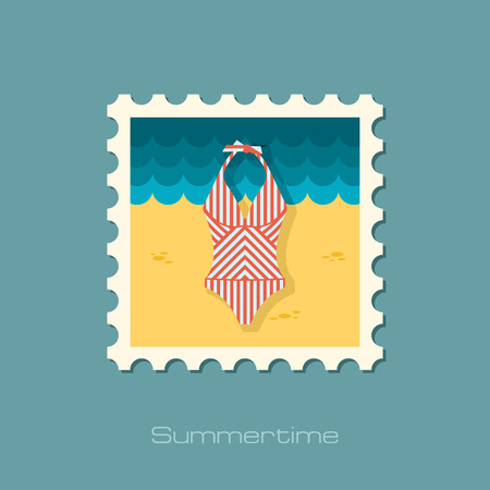 bikini top: Swimsuit flat stamp Illustration