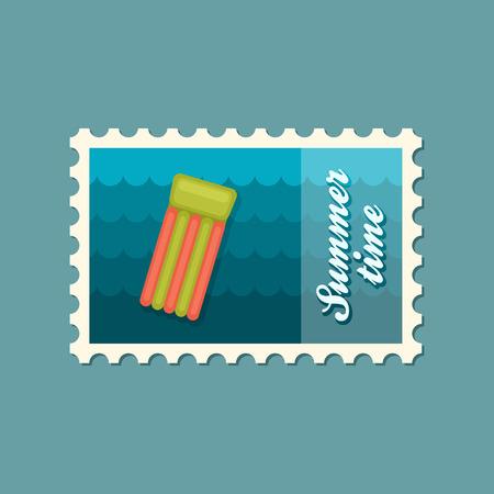 mattress: Floating mattress on beach flat stamp Illustration