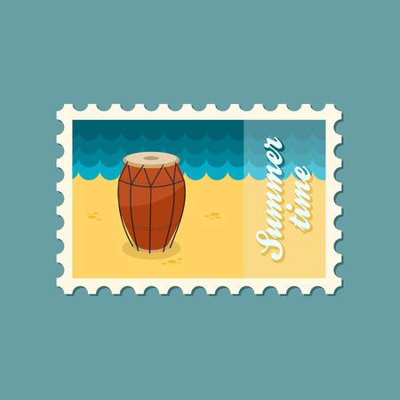 solo: Drum flat stamp Illustration