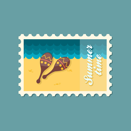 mexico beach: Maracas flat stamp Illustration