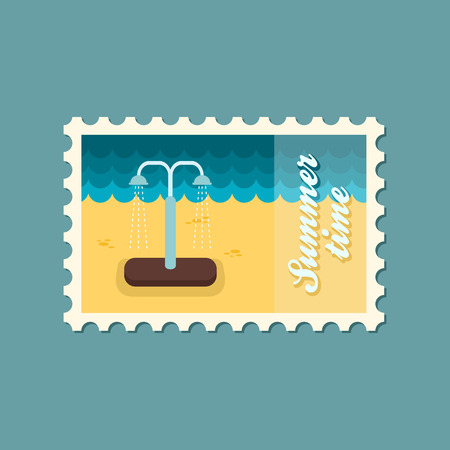 cleanness: Summer beach pool shower flat stamp Illustration