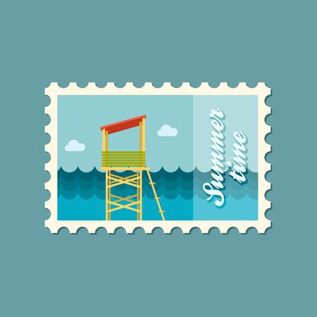 lifeguard: Lifeguard tower flat stamp Illustration
