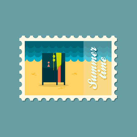 cloakroom: Cloakroom on the beach flat stamp